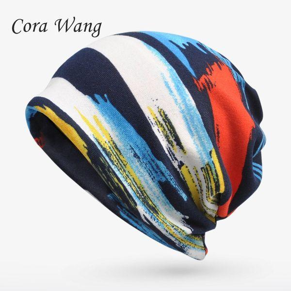 Winter Hat Beanie Turban Hats For Women Men Plus Velvet Warm Stripe Skullies Beanies Hat Male Bone Cap Female Scarf 2 in 1