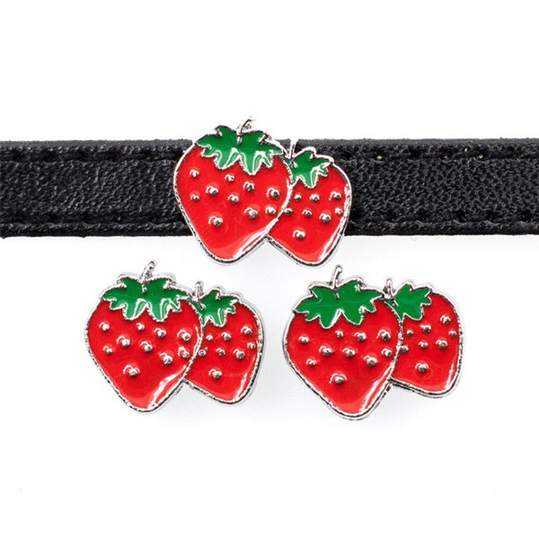 10PCs 8MM Enamel Red Strawberry Slide Charms Beads Fit 8mm Wristband Pet Dog Name Collars Belts Tags Phone Strips