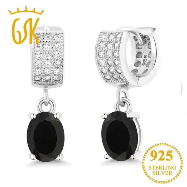 Fine Argent 925 Femmes Ovale Naturel Zircon Goutte Boucles d/'oreille Fashion Jewelry