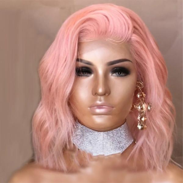 Sexy Cosplay Pastel Baby Pink peluca delantera del cordón sintético para las mujeres de longitud media parte ondulada Bob Cut peluca pelo de fibra de alta temperatura