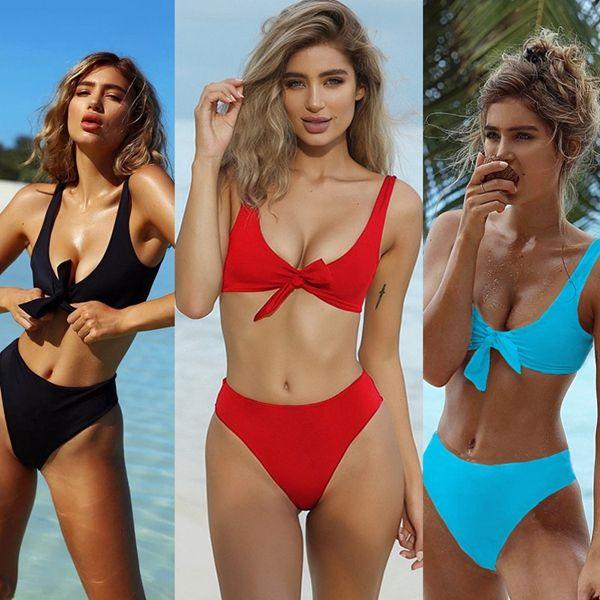Fashion US women one piece bikini push up padded bra swimsuit bathing swimwear beachwear lady bow beach suits