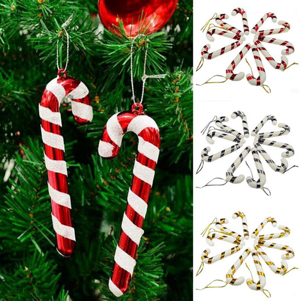 Xmas Candy Cane Ornament Christmas Tree Pendant Drop Ornaments Decorations Mini Stripe Cane stick Craft Blank Decor gold silver red