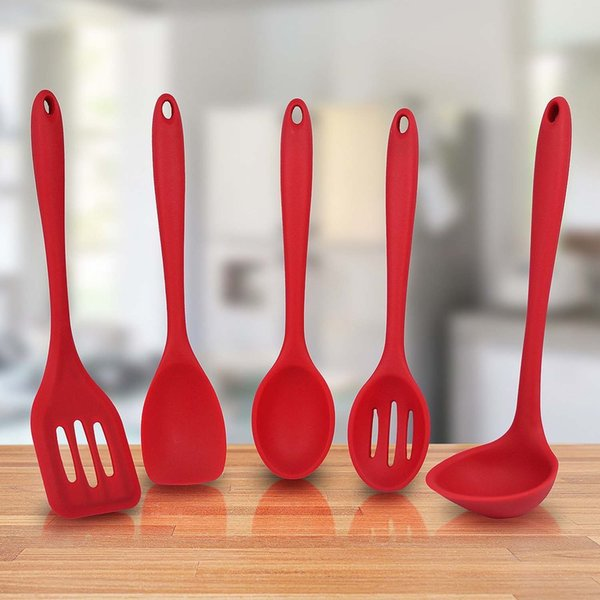 Behokic 5 PCS Silicone Kitchen Utensil Set Kit Spatula Scoop Ladle Mixing Spoon Sloed Spoon Cocina Utensilio De Conjunto Red