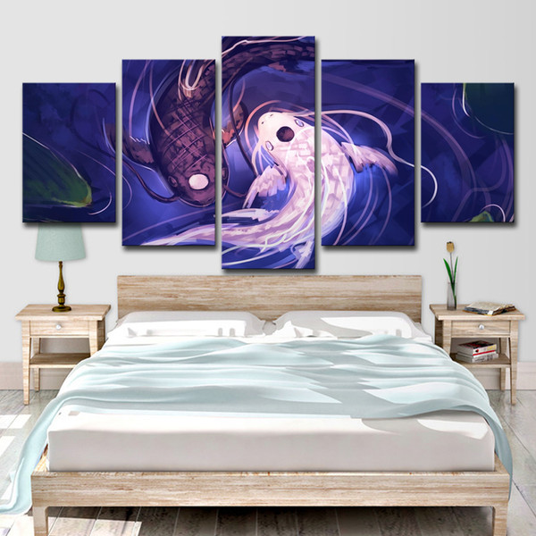 Wall Art HD Prints Canvas Pictures For Living Room 5 Pieces Fish Koi Yin Yang Awesome Revel Painting Home Decor Poster
