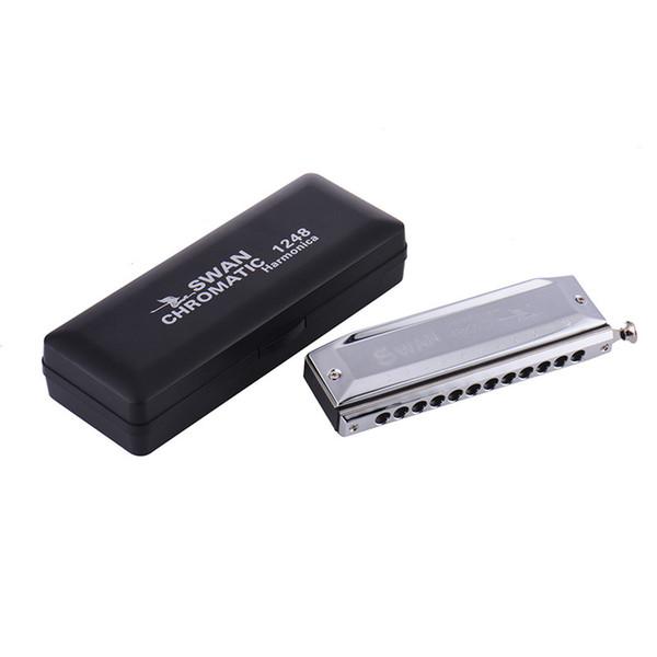 SWAN 12 Hole Key of C 48 Tones Advanced Chromatic Harmonica Mouth Organ Silver Steel Deck-plate + Copper Base Plate
