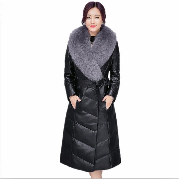 Leather fur coat 2018 autumn and winter new fox hair sheep skin long section ladies leather down jacket women Large size M-4XL