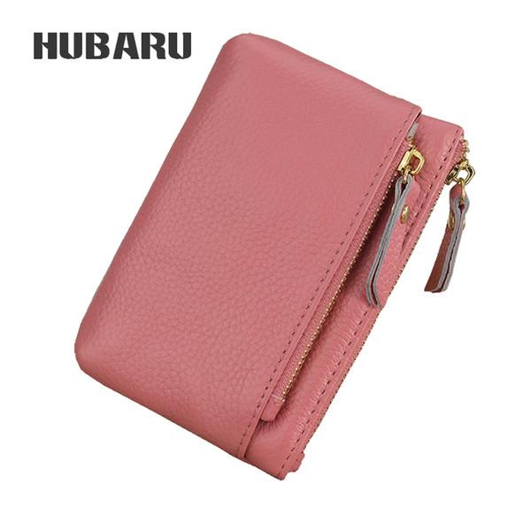 HUBARU Cow Leather Fashion Simple Coin Purse Women Mini Purse Key Holder Lady Zipper Wallet Female Small Money Clutch Clamp Girl