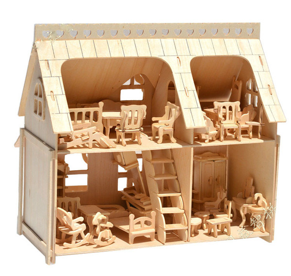 best selling Large Porch Full House Veranda DIY Model 3D jigsaw Puzzles Scale Building 34 pcs Furnitures 33*30*20 wooden architecture toys Wholesale