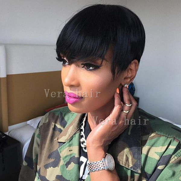 Human Hair Wigs Short Pixie Cut Wig For Black