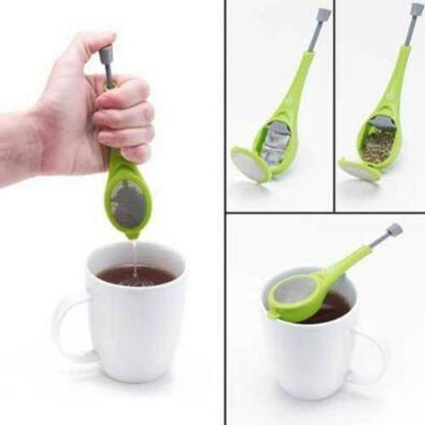 best selling Total Tea Infuser Gadget Measure Swirl Steep Stir And Press Food Grade PlasticTea Coffee Strainer Tea Tools CCA8543 100pcs
