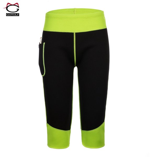 Exercise Shorts for Women High Waistband Workout Control Pants with Pocket Hot Shaper Sweat Slimming Shapewear Thigh Fat Burning