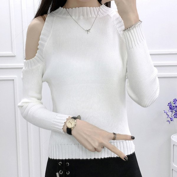 Woman Sweater Feminine Coat Clothes Jumper Women's Strapless Shoulder Winter 2018 Long Sleeve Clothing Lady's Tops Ladies 043