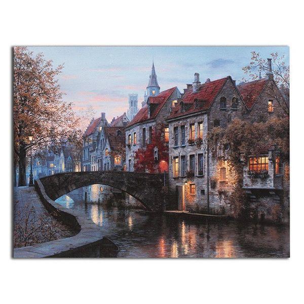 European Scenes House River Canvas,Handpainted /HD Print Landscape Wall Art Oil Painting On Canvas.Home Decor Multi Custom Sizes /Frame L61