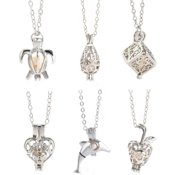 Regalo de lujo PERLA Jaula Colgante Collar Amor Deseo perla natural sin Oyster Pearl Mix Design oyster Hueco Medallón Clavícula Collar