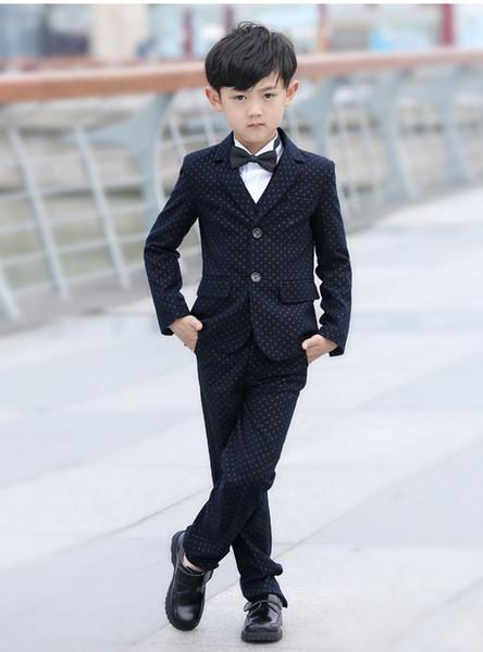 Good Quality Boys Black Spot Suits Cotton Blended Fabric Single Breasted 5-Piece Suit (Coat+Vest+Pant+Shirt+Bow Tie) Tuxedos Wedding Suits