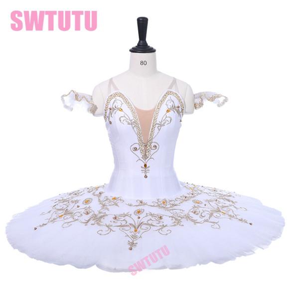 Adult Performance Tutus BT934B White Gold Swan Lake Professional Ballet Tutu Women Ballerina Professional Ballet Stage Costume
