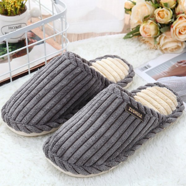 Indoor slipper men cheaper gingham corduroy fashion winter shoes short plush warm comfortable non-slip slippers man