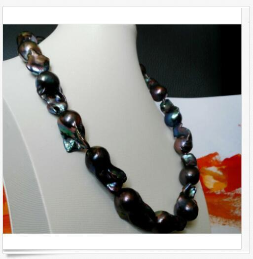 elegant 25-30mm tahitian black blue pearl necklace 18 inch elegant 25-30mm tahitian black blue pearl necklace 18 inch