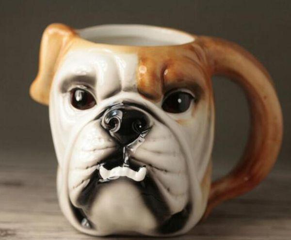 Té tazas de café de cerámica 3D de dibujos animados Bulldog tazas de leche decoración para el hogar sala de artesanía decoración de la boda porcelana estatuilla animal taza
