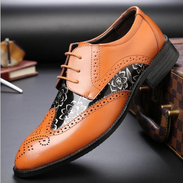 Hot Designer Noir Brogue Chaussures En Cuir Véritable En Cuir À Lacets Hommes Formelle Robe Oxford Bureau De Mariage Chaussures