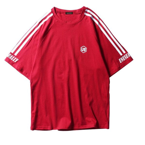 Sleeve Stripes Short Sleeve T-Shirt 2018 Summer Men's Casual Tops Tees Hip Hop Fashion Male Streetwear Tshirts 4 Colors