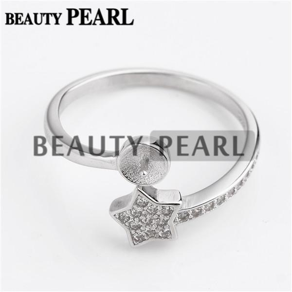 Bulk of 3 Pieces 925 Sterling Silver Cubic Zirconia Glittery Star Ring DIY Pearl Jewellery Mounts