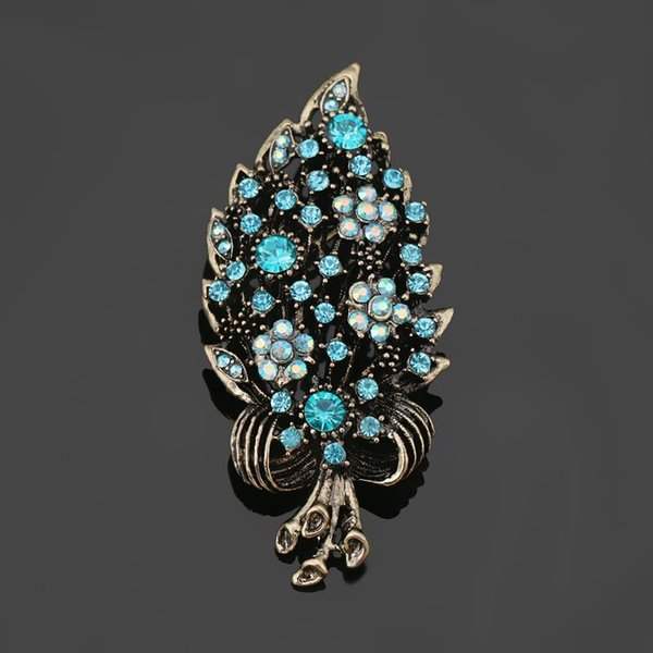 Wholesale- Antique Gold color Vintage Style Color Crystal Flower & Bow Pins and Brooches in assorted colors