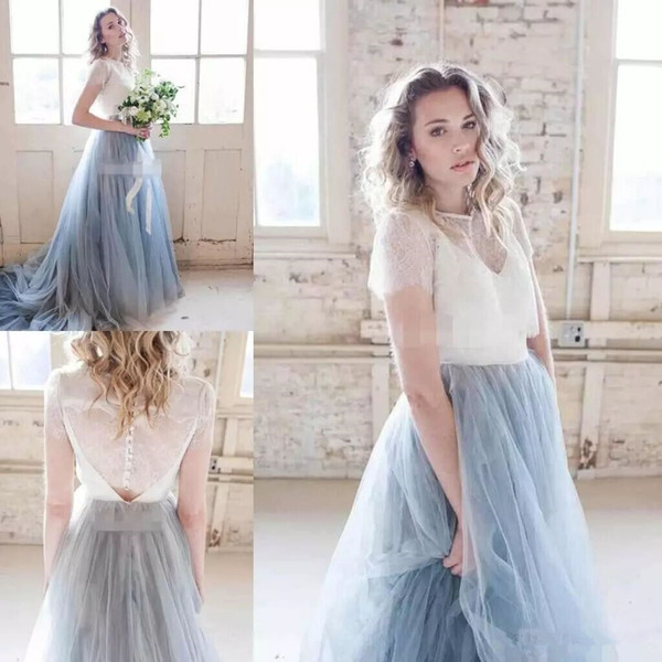 Spring Country Lace Wedding Dresses Tulle Tutu Skirt Short Sleeve Wedding Gowns Free Jackets Bohemia Wedding Dresses Bridal Gowns Cheap