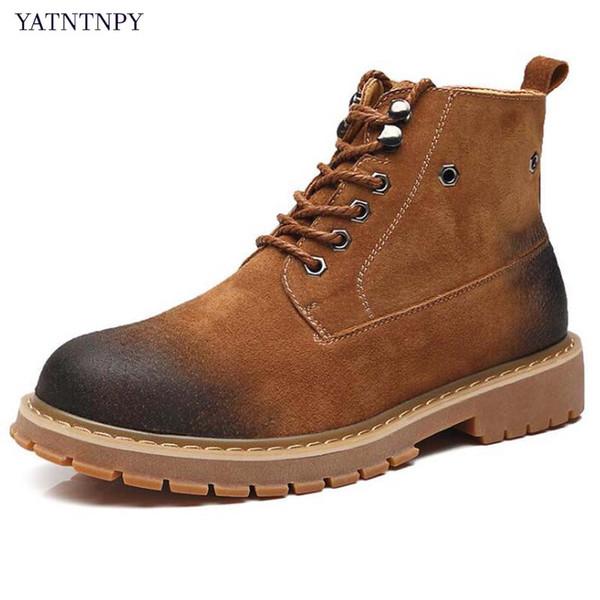 YATNTNPY Chegada Nova Homem Botas De Couro Genuíno Dos Homens Botas de Inverno Do Vintage Martin Lace-Up Oxfords Homem bota masculina