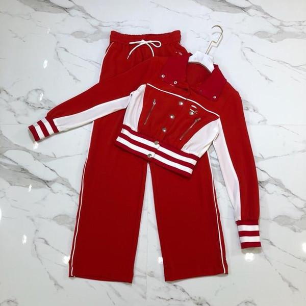 23ffe34d0ee2c Nanyou 2018 Erken Sonbahar Yeni Desen Suit-elbise Moda Trendi Mizaç Hareket  Suit Kırmızı Beyaz