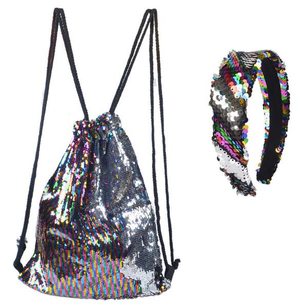 Girls Rainbow Sequins princesa palos de pelo + lentejuelas de doble cara doble hombro mochila 2 unids establece moda niños regalo de navidad F2389