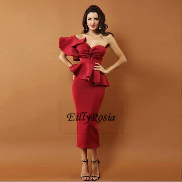 Burgundy 2018 Prom Dreses One Shoulder Tea Length Sheath Peplum Formal Evening Gowns for Wedding Guest Dress robes de soirée Abendkleider