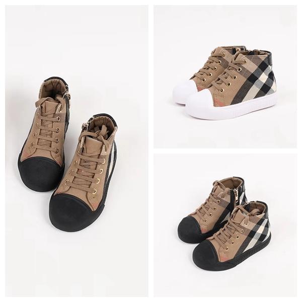 Kid Canvas shoes plaid deign boy girl casual & athletic shoe winter autumn fashion child walking shoe EU 26-35
