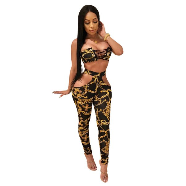 women clothes 2 piece set outfits long sleeve backless bandage shirt pants tracksuit strapless bra+hollow out legging clubwear hot L1