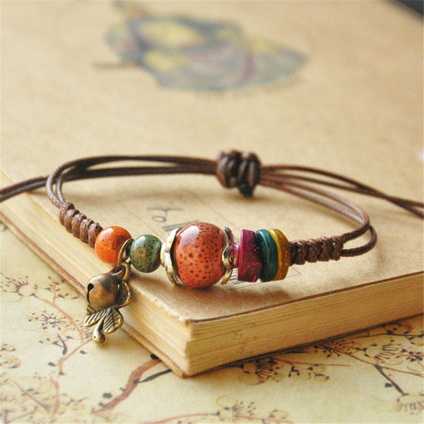 Fashion casual style original ceramic bronze adjustable handmade porcelain beads rope bracelets for women girl's gift he157