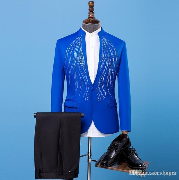 Blazer men formal dress latest coat pant designs marriage suit men stand collar hot drilling wedding suits for men's blue 2XL