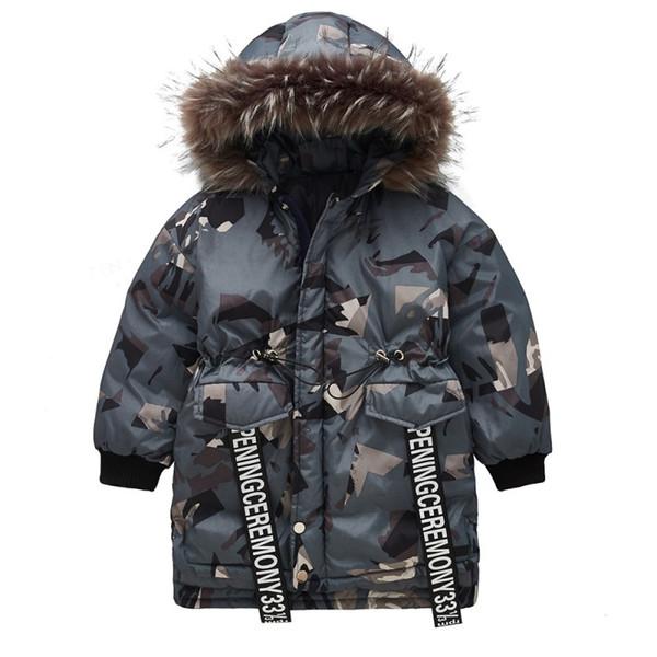 Boys Cotton Down Parka Jackets Winter Boys Hooded Camouflage Outwear Children Thick Warm Windbeaker Parka Coat Enfant Boys Fur Collar Jacket