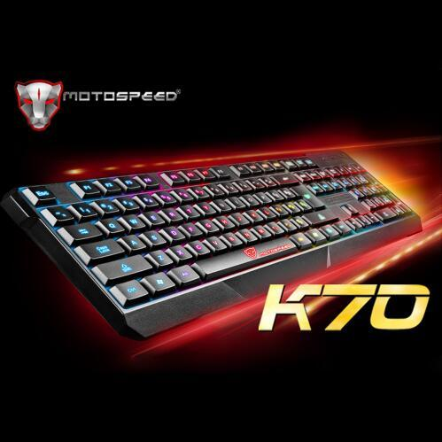 MotoSpeed ​​K70 Ergonómico 7 LED Retroiluminación colorida USB Con cable Gamer Gaming Teclado USB Powered for Desktop Laptop Teclado Gamer