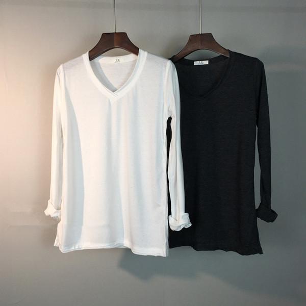 White T Shirt Women Long Sleeve V Neck Summer 2017 New Solid Basic Tunic Tops Korean Style Tee Shirt femme S18100901