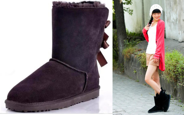 8dc11f4146d 2018 New Fashion Australia Classic Tall Winter Boots Real Leather Bailey  Bowknot Women'S Bailey Bow Snow Boots Shoes Boot Ladies Shoes Moon Boots  From ...