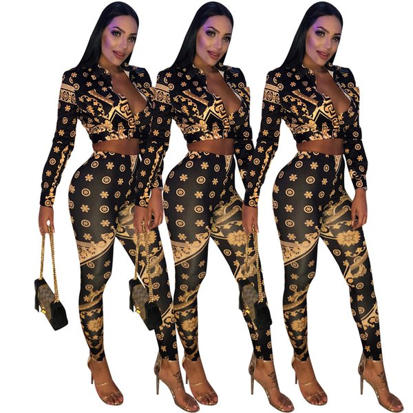 Mode Frauen Kleidung Vintage Overall Für Frauen Zwei Stücke Hosen Sexy Strampler Print Frauen Overall Aushöhlen Herbst Playsuit HM6017