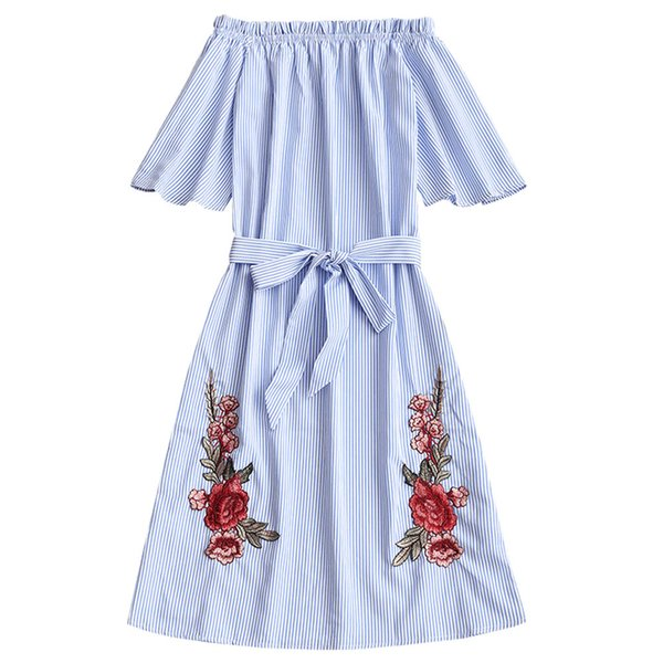 ZAFUL Mulheres Vestido de Verão Fora Do Ombro Azul Listrado Floral Bordado Vestidos Sexy Praia Listrada Flor Remendado Belted Vestidos