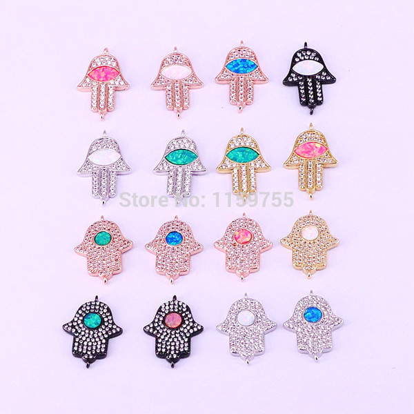 10Pcs Opal Clear CZ Micro Pave Hamsa hand Connector Beads For Bracelet Necklace Making