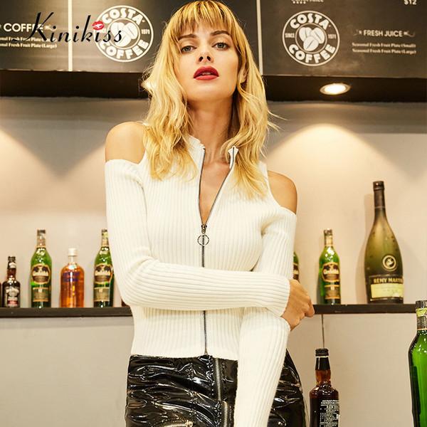 Kinikiss Mulheres Moda Zipper Cardigan Sweater Branco Fresco Gola Cold Shoulder Sweater Elegante Curto Casaco De Malha