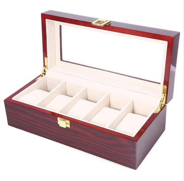 Haute Qualité Montre Boxes 5 Grilles En Bois Montre Montre Piano Lacquer Bijoux Stockage Organisateur Bijoux Collections Cas Cadeaux