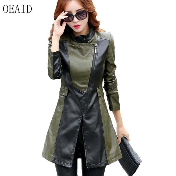 Acheter OEAID Printemps Et Automne En Cuir Manteau Femmes Nouveau 2017 En Cuir Veste Femmes Long Mince Moto Vêtements Femme Noir De $62.44 Du Maoyili
