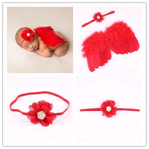 Baby Angel Wing + flor de la gasa diadema de la perla apoyos de la fotografía Set recién nacido Pretty Angel Fairy plumas rojas traje Photo Prop BAW47