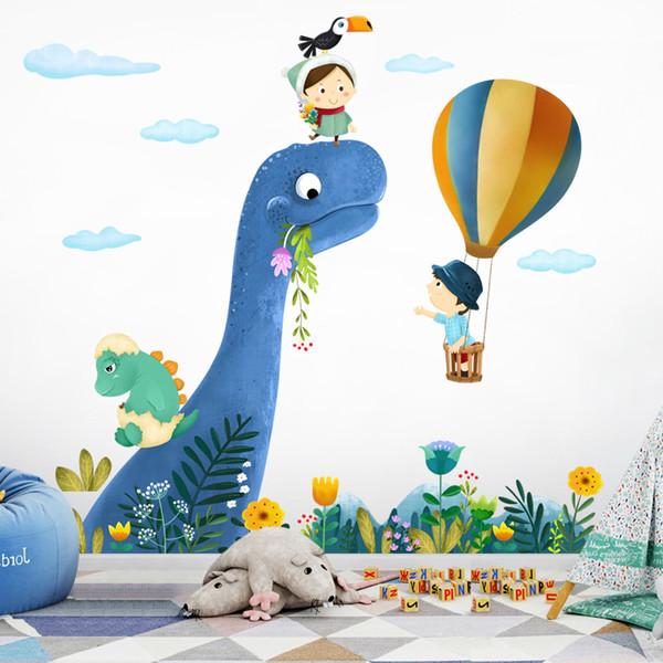 Мультфильм Наклейки Для Детей Номеров Милый маленький Динозавр Наклейка На Стену Животных Детские Детские Животные Home Decor Art Съемные Мультфильм Наклейки На Стены