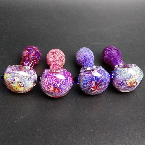 Mini tuyaux en verre Pyrex Tuyau de brûleur à mazout Accessoires pour fumeur Belle couleur 3D rose violet cuillère en verre Pipe Main tuyaux de 2,9 pouces