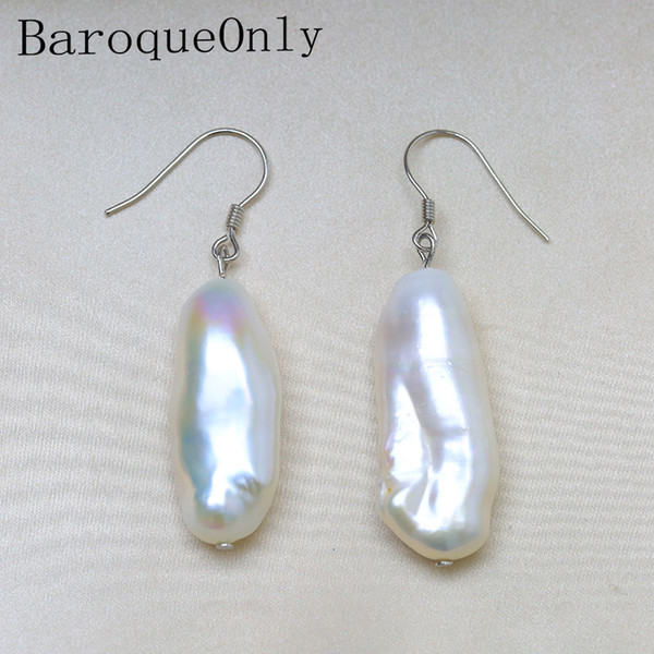 BaroqueOnly 12-29mm Baroque Pearl Boucles D'oreilles Perle D'eau Douce Naturelle Argent 925 Crochet Français Dangle Earrings Beat Gifts ECG
